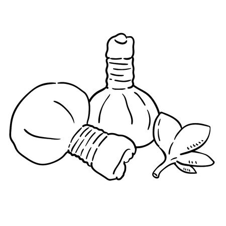 Hand drawn illustration of Herbal Compress Ball.