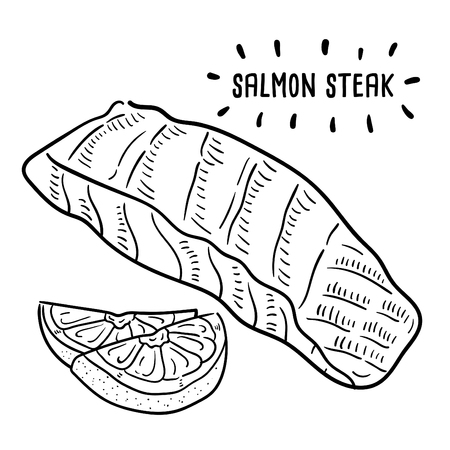 Hand drawn illustration of Salmon steak.