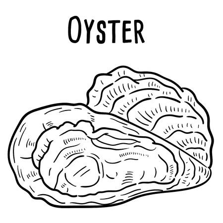 Hand getekende illustratie van oester.