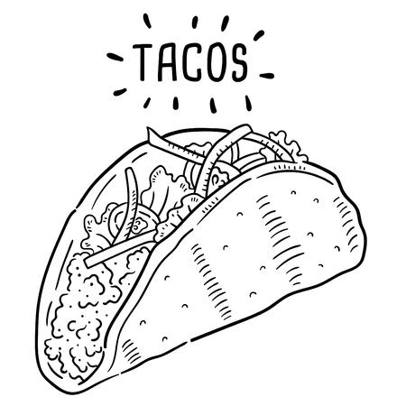 Ilustración dibujada a mano de tacos.