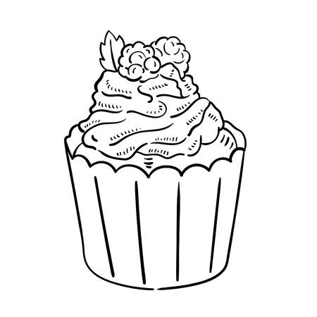 Hand drawn illustration of Cupcake.