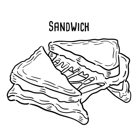 Hand drawn illustration of Sandwich.
