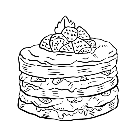 Hand drawn illustration of Cake. 일러스트