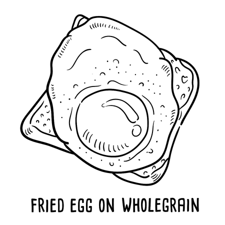 Hand drawn illustration of Fried egg on wholegrain. Illustration