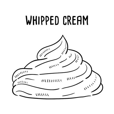 Hand drawn illustration of Whipped Cream. Ilustração