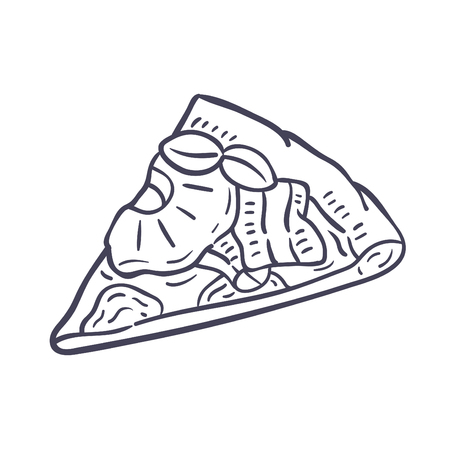Hand drawn illustration of Pizza.