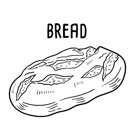 Hand drawn illustration of Bread. Vettoriali