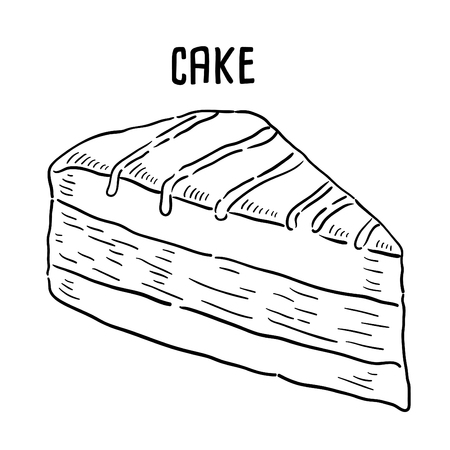Hand drawn illustration of Cake. 矢量图像
