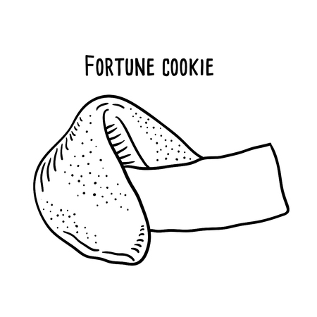 Hand drawn illustration of Fortune Cookie. Vectores