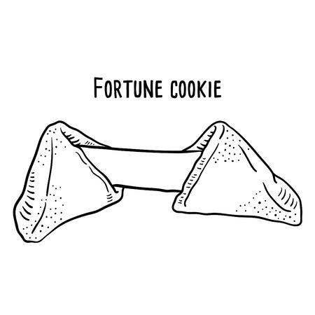 Illustrazione disegnata a mano del biscotto della fortuna. Vettoriali