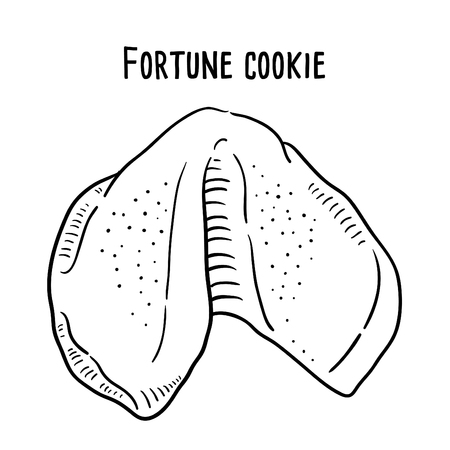 Hand drawn illustration of Fortune Cookie. Ilustração