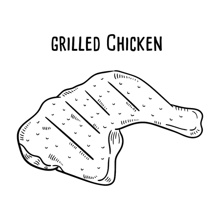 Hand drawn illustration of Grilled Chicken. 向量圖像