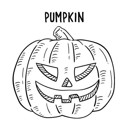 Hand drawn illustration of Halloween Pumpkin. Ilustração