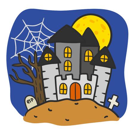 Cute cartoon Happy Halloween vector.