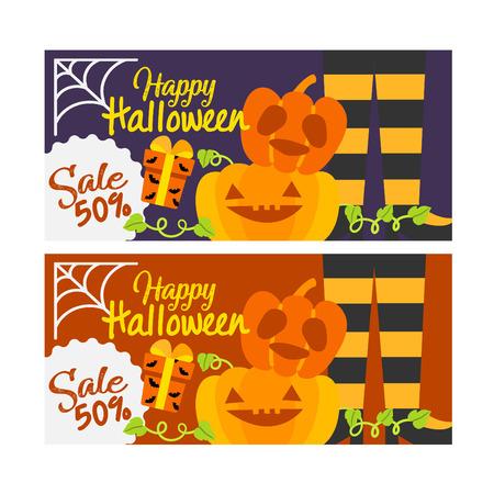 Cute cartoon Happy Halloween  banner vector.