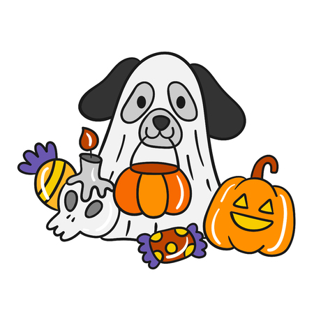 Cute cartoon Happy Halloween vector. 版權商用圖片 - 108851039