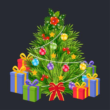 Cute Cartoon Christmas tree Concept. 矢量图像