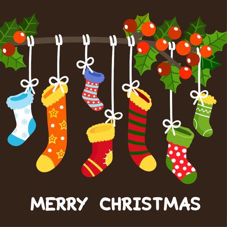 christmas socks vector. 矢量图像