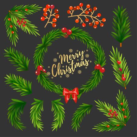 Christmas elements vector. 矢量图像