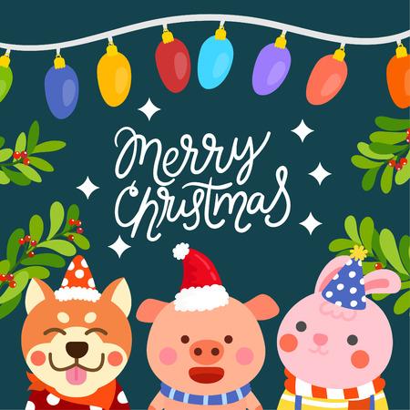 Cute Cartoon Christmas Concept. 矢量图像