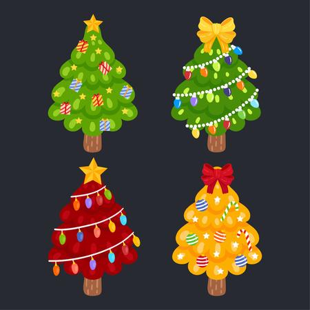 Cute Cartoon Christmas trees Concept. 免版税图像 - 112804790