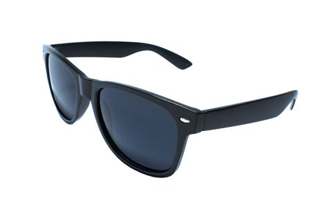 sunglasses black, dark blue glass on a white background