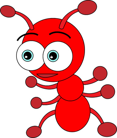 Cute Little Red Ant Vector