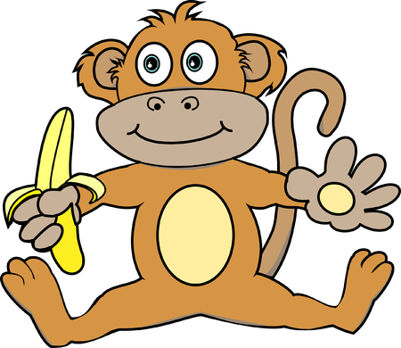 Cute Monkey Holding a Banana Illustration