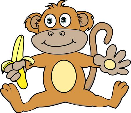 Cute Monkey Holding a Banana Vector
