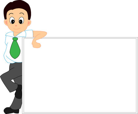 cartoon board: Man leaning against a white board