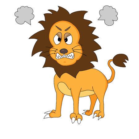 undomesticated cat: Angry Cute Cartoon Lion