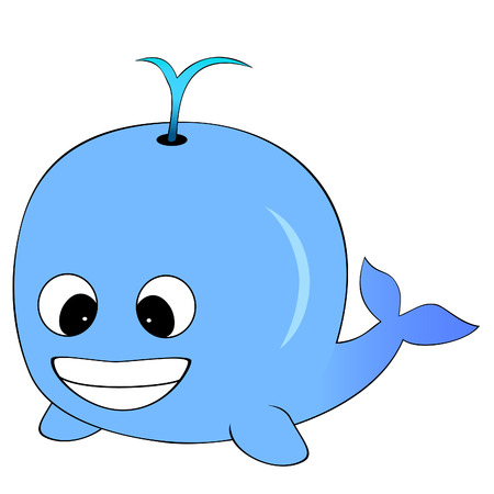 Cute Blue Cartoon Whale