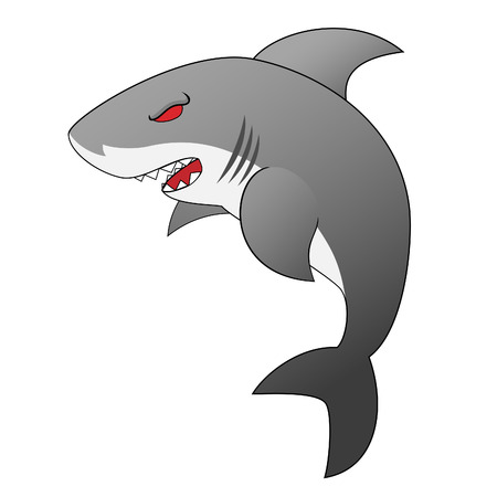 Angry Looking Cartoon Shark With Menacing Sharp Teeth And Red Eyes Vector