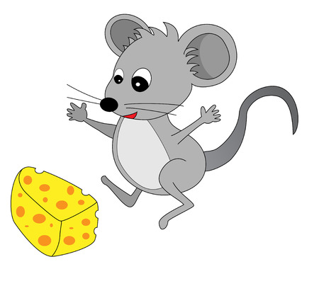 found: A happy cute looking grey cartoon mouse found some cheese