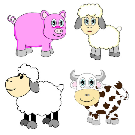 Cute Farm Animals Set Vector