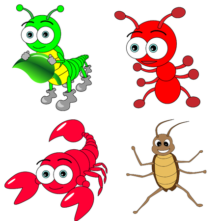 red ant: Cute Insects Set