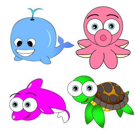 large turtle: Cute Sea Animal Set