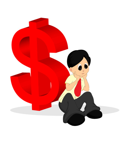 A Man in Shirt Looking Worried with Money Sign At the Back Stock Vector - 4508131