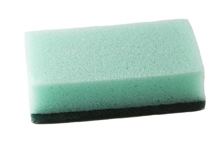 isolated green sponge over a white background photo