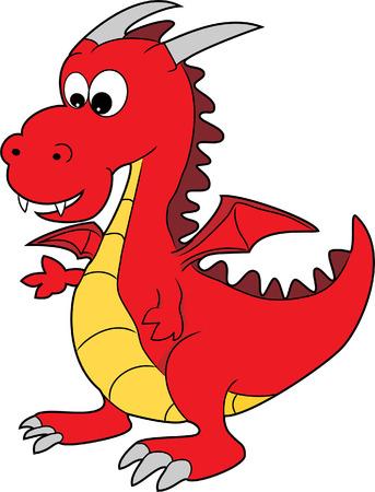 dragon rouge: Illustration d'un joli Happy Dragon Rouge Cartoon Character Illustration