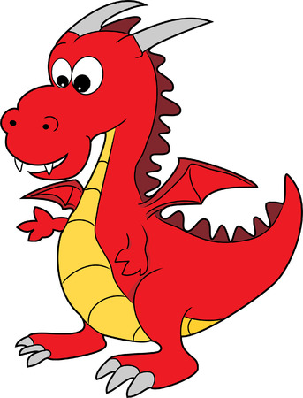 Illustration of A Cute Red Cartoon Happy Dragon Character