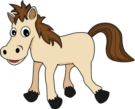 illustration of a cute happy looking cartoon brown horse