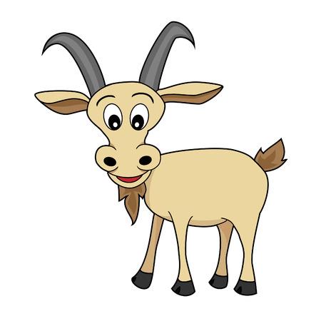 Cute Ilustración de un Happy Mirando dibujos animados de cabra