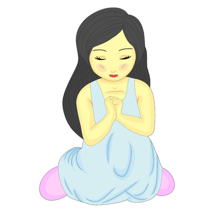 A Cute Little Pretty Girl Kneeling and Praying Stock Vector - 4855537