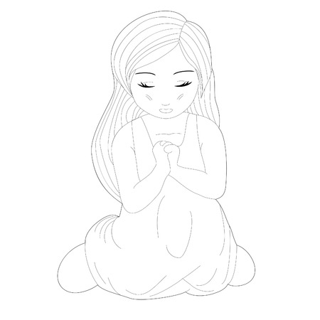 child praying: Sketch of A Cute Little Pretty Girl Kneeling and Praying Illustration