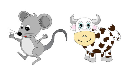 hungry kid: Chinese Zodiac Set 1 : Mouse and Ox Illustration