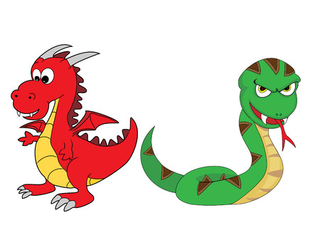 Chinese Zodiac Set 3 : Dragon And Snake Vector