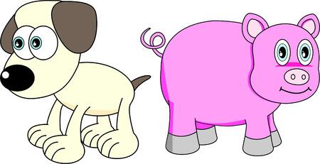chinese pig: Chinese Zodiac Set 6 :Dog And Pig Illustration