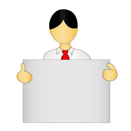 cute human figure in formal office attire holding a sign Vector
