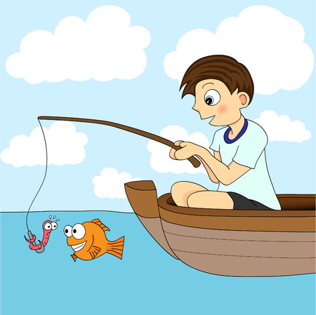 cartoon fishing: Boy Fishing In A Boat